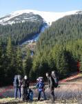 Галявина на перешийку між Горганом-Ілемським та Яйком-Ілемським; початок стежки на хребет Яйка-Ілемського