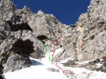Зеленим показано шлях підйому - альтернативний шлях спуску. Червоним пунктиром - загальний напрям спуску до точки 8.