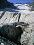Трещины на безымянном леднике в дол. руч. Сергексу