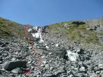 путь спуска группы вдоль водопада на ручье вытекающем из лед. Немыцкого
