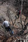 Проходження кулуару по перильній страховці. Проміжні точки через дерева
