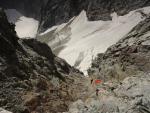 Ледник Рынджи и спусковой кулуар