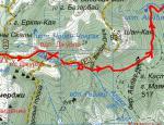 Карта-схема Спуск по ущелині р.Алака (1Б)
