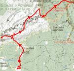 Карта-схема проходження кулуару Еклізі-Бурун Пд-Сх ІІ (1Б, 1400м)