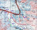 Карта маршрута в районе вершины Казбек (5034)