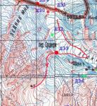 Карта маршрута в районе перевала Орцвери (2А, 4000)