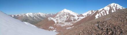 Вид с перевала Туристов в стороны долины реки Кызылсай, вдалеке вправо уходит долина реки Озерная