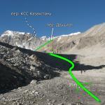 Вид на перевал Дуршлаг и ледник Обручева из долины реки Сарканд