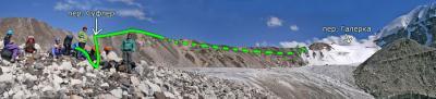 Маршрут спуска с перевала Галерка через перевал Суфлер