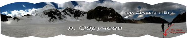 Панорама льодовика Обручева перед підйомом на перевал