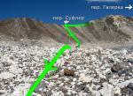 Седловина перевала Суфлер от плато под п. Галерка