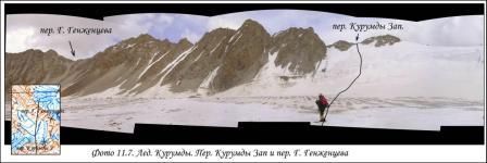 Ледник Курумды. Перевал Курумды Западный и перевал Гранты Греженцева