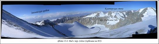 Вид с перевала Седло Скобелева на ЮЗ. Путь по леднику.