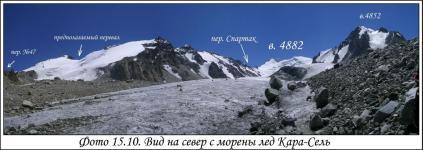 Вид на север с морены ледника Кара-Сель