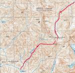 Карта Ферганского хребта в окрестности перевала Шиль-Бели