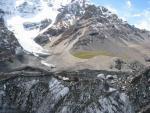 Фото. 10. Вид на поляну Мерцбахера с севера. С ледника Ю. Иныльчек.