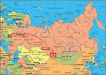 Карта ?1. Расположение Горного Алтая на политической карте Евразии.