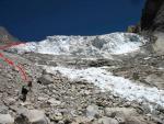 Обход ледовых сбросов по бараньим лбам и живым осыпям