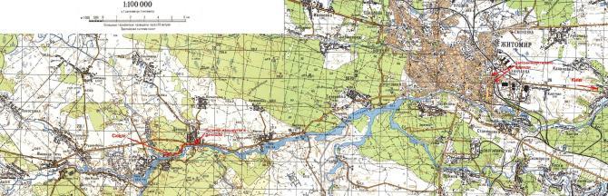 Розташування масиву відносно Житомира
