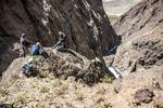 Первый дюльфер на 50 м в каньоне к р. Арча-баши