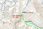 Рис. 1 Карта района перевала Шпыци (1Б) (масштаб 1-25000) с маршрутом прохождения